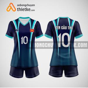 Mẫu áo bóng chuyền thiết kế màu xanh tím than BCTK3 Nữ