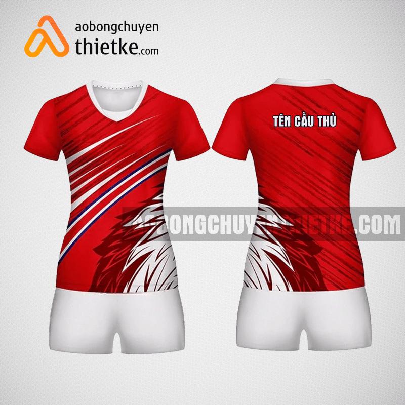 Mẫu áo bóng chuyền thiết kế nữ màu đỏ BCU10