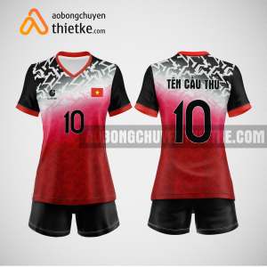 Mẫu quần áo bóng chuyền thiết kế đẹp màu đỏ đen BCTK6 Nữ