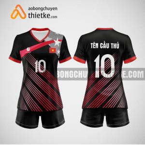 Mẫu quần áo bóng chuyền thiết kế màu đỏ đen BCTK6 Nữ
