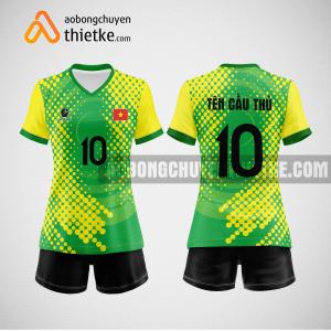 Mẫu quần áo bóng chuyền thiết kế vàng xanh greenco BCTK37 nữ