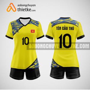 Mẫu quần áo bóng chuyền việt nam thiết kế màu vàng BCTK36 nữ