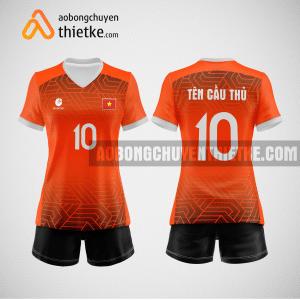 Mẫu áo thi đấu bóng chuyền đẹp màu cam đen BCN486 nữ
