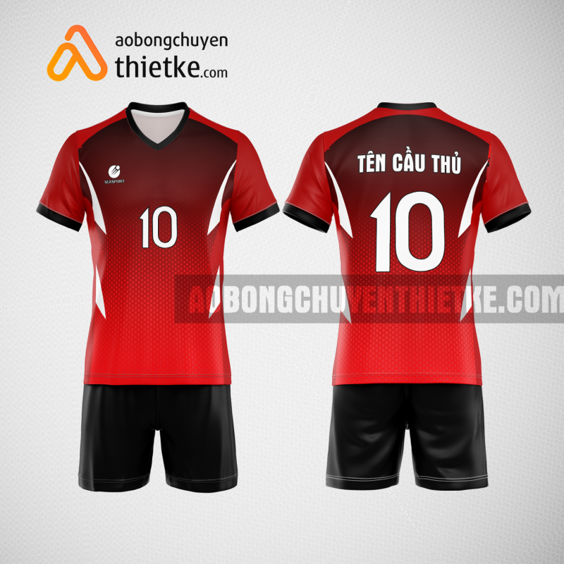 Mẫu áo thi đấu bóng chuyền đẹp màu đen đỏ BCN490 nam