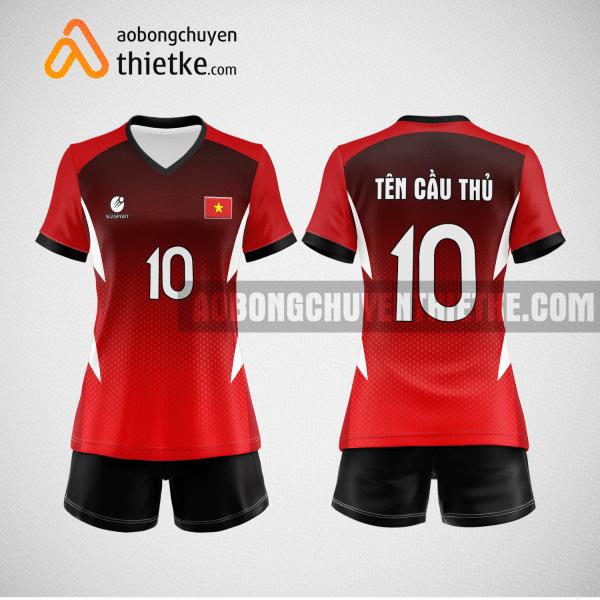 Mẫu áo thi đấu bóng chuyền đẹp màu đen đỏ BCN490 nữ
