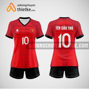 Mẫu áo thi đấu bóng chuyền đẹp màu đỏ tươi BCN497 nữ
