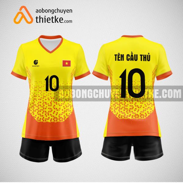 Mẫu áo thi đấu bóng chuyền đẹp màu vàng cam BCN488 nữ