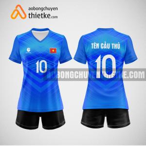 Mẫu áo thi đấu bóng chuyền đẹp màu xanh da trời BCN491 nữ