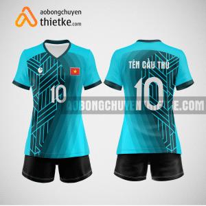 Mẫu áo thi đấu bóng chuyền đẹp màu xanh ngọc BCN487 nữ