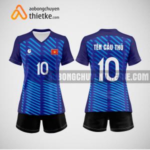 Mẫu quần áo bóng chuyền thi đấu màu xanh tím than BCN504 nữ