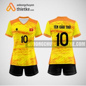 Mẫu quần áo thi đấu bóng chuyền 2022 màu vàng BCN495 nữ